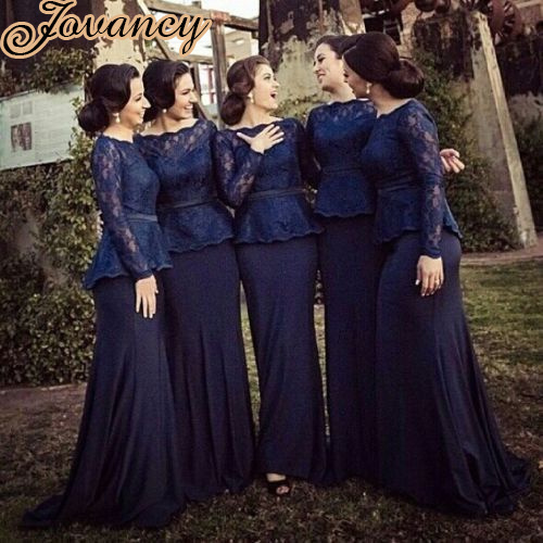 Modest Long Sleeves Prom Dress Sheath Court Train Royal Blue Lace Bridesmaid Dresses 2017