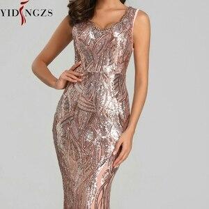 Image 5 - YIDINGZS Neue Formale Pailletten Abendkleid 2020 V ausschnitt Friesen Abend Party Kleid YD360