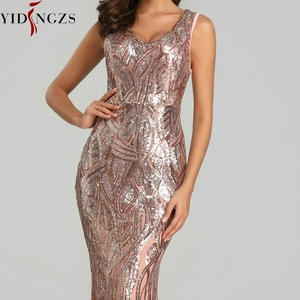 Image 5 - YIDINGZS New Formal Sequins Evening Dress 2020 V neck Beading Evening Party Dress YD360