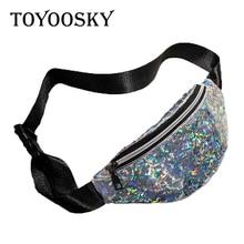 New Arrival Casual PVC Waist Belt Bag Women Laser Zipper Dumpling Shape Sport Multifunction High Capacity TOYOOSKY