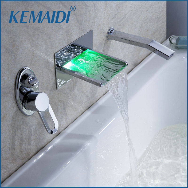 KEMAIDI Wall Mounted Waterfall Faucets Mixers Water Power LED Basin Mixer Chrome Pull Out Taps Handle Shower Bathtub LED Faucet china sanitary ware chrome wall mount thermostatic water tap water saver thermostatic shower faucet