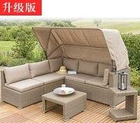 Открытый садовый диван из ротанга набор для комфортного Alfresco время питьевой/мягкие подушки и подушки в комплекте