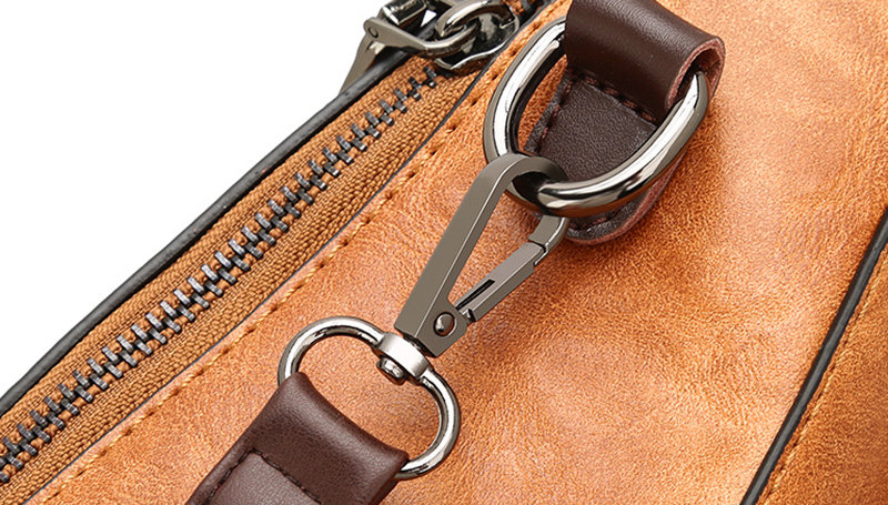 pure leather bag zipper view