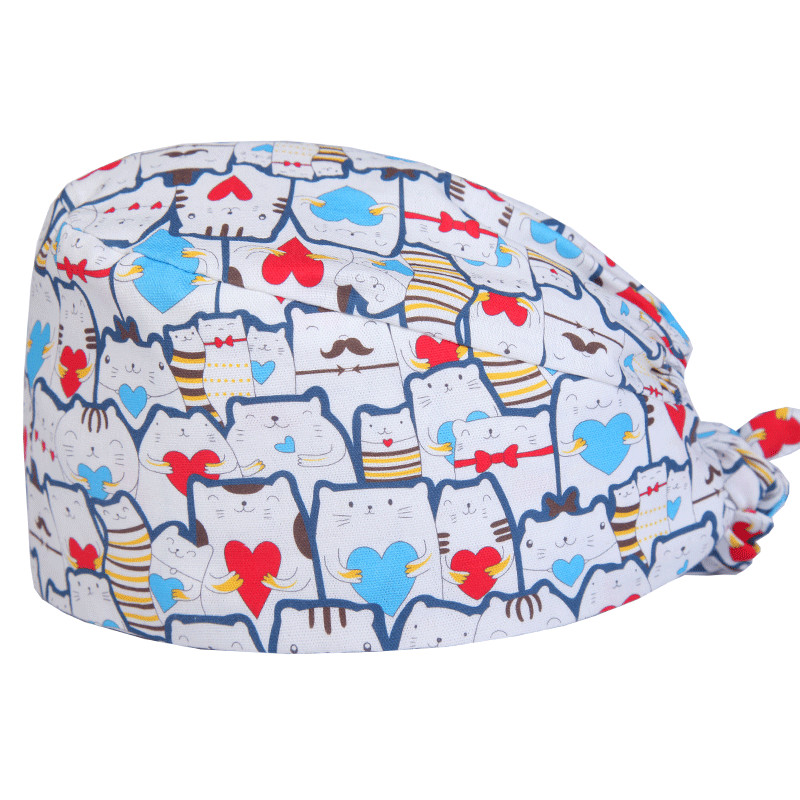 Cute Cat Pattern Women Surgical Scrub Cap Hospital Operationg Room Work Hats For Doctor Nurse Dentist Pet Shop Salon Headwear
