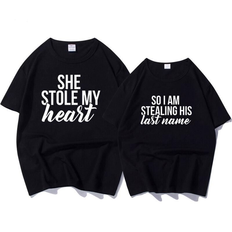 T-shirts Paar für Liebhaber Sommer 2018 Brief Drucken Sie Stola Mein Herz Lustige T Shirt Frauen Kurzarm Lose Weibliche t-shirt Top
