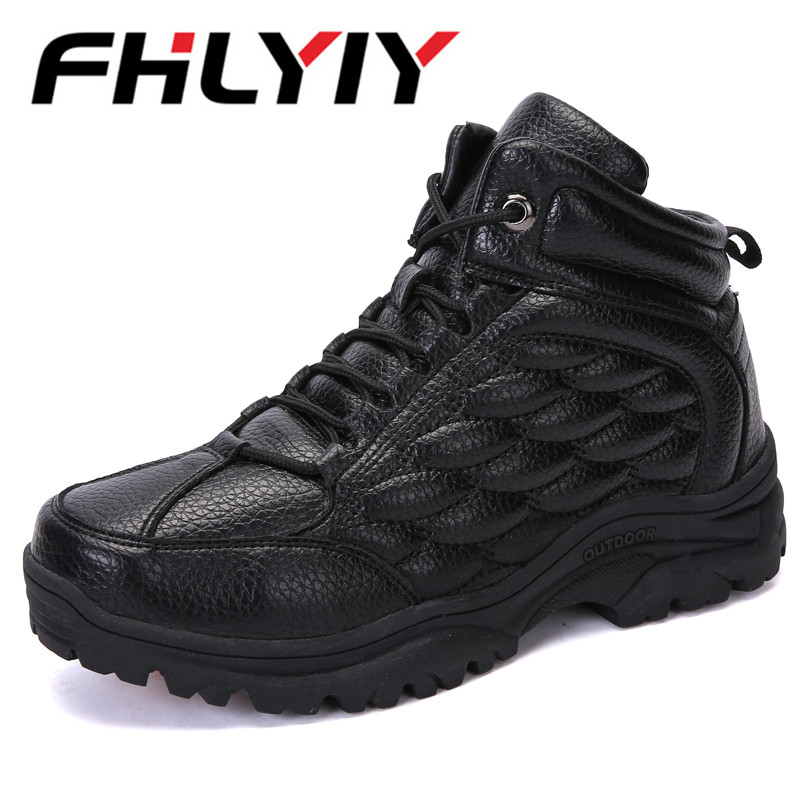Winter Boots Men Ankle Snow Boots Warm Plush High Top Hiking Sneakers Casual Non-slip Mens Work Shoes Botas Hombre