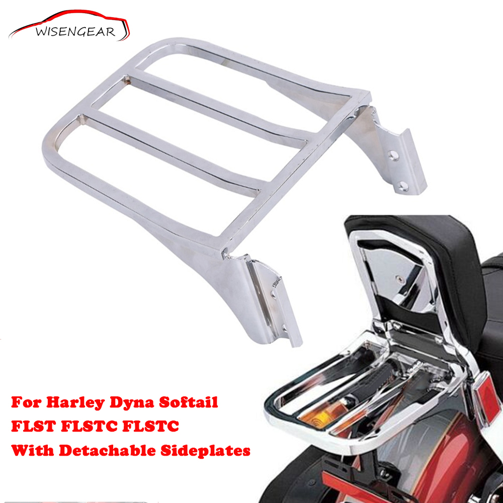 For Harley Sport Backrest Sissy Bar Motorcycle Rear Luggage Rack Dyna FLST FLSTC FLSTC Softail With Detachable Sideplates C/5 black motorcycle backrest sport sissy bar luggage rack for harley hd sportster xl 04 17 dyna 06 17 softail 84 05 flst mbj328