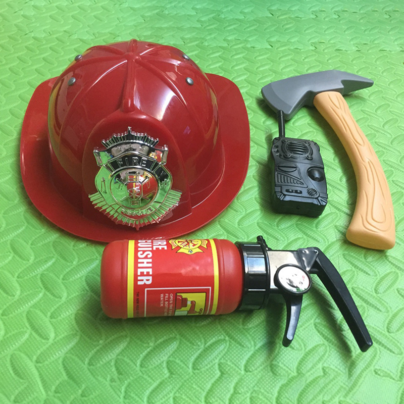 Fire Hat Toy Props Children Firefighter Accessories Plastic Fire Extinguisher Axe House Toys Firemen Cosplay Gifts
