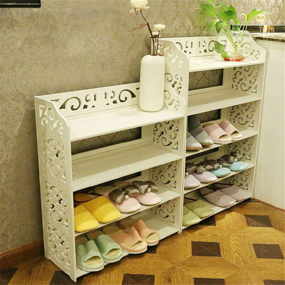 White Pvc Carving Shoe Rack Shelf Storage Home Organizer 3 4 5 Tier