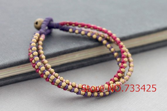 Handmade woven Sweet Pink Braided Bracelet with wax cord and thai style brass bell closure bracelet for women,5pcs/lot