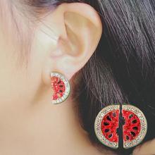 Creative Fashion Earrings Sweet Small Watermelon Crystal Rhinestone Charm Asymmetric Stud Earrings Women Jewelry Wholesale a suit of sweet asymmetric bar cross earrings for women