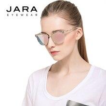 Jara Мода 2017 г. кошачий глаз овальные линзы поляризованные солнцезащитные очки Женщины Зеркало UV400 покрытие Брендовая Дизайнерская обувь из металла открытый очки J0830