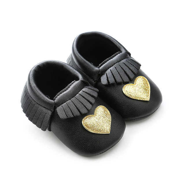 Fashion glitter Heart star style PU leather Newborn baby girls shoes Fringe  first walker crib shoes 270483d528c1