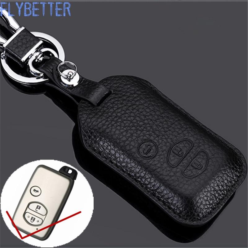 цена на FLYBETTER Genuine Leather Smart Key Case Cover For Toyota Camry/Crown/Highlander/Prado/Prius Car Styling L1837