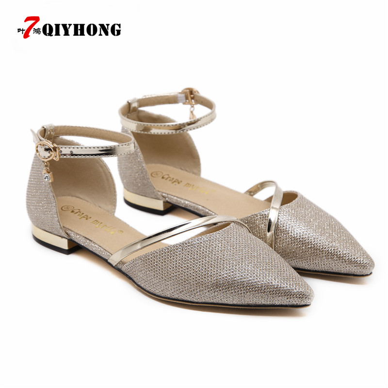 2018 Spring And Summer New Fashion Pointed Hollow Single Shoes Female Flat Shoes Wild Word Buckle With Shoes Woman Flat Shoes
