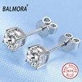 BALMORA 100% Real 925 Sterling Silver Jóias Simulado Parafuso Prisioneiro Do Diamante Brincos para As Mulheres Do Partido Das Senhoras Presentes Bijoux JE120011