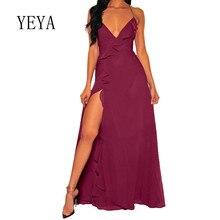 YEYA Elegant Ruffles High Split Maxi Dress Sexy Deep V-neck Sleeveless Back Cross Bandage Summer Luxury Party De Longue