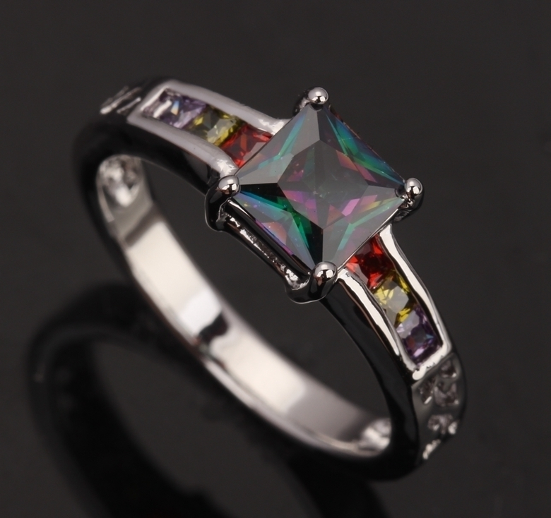 Square Gems Garnet Cubic Zirconia Rainbow Mystic Jewelry Overlay 925 Sterling Silver For Women Fashion Sales Size 6 7 8 9 S0199