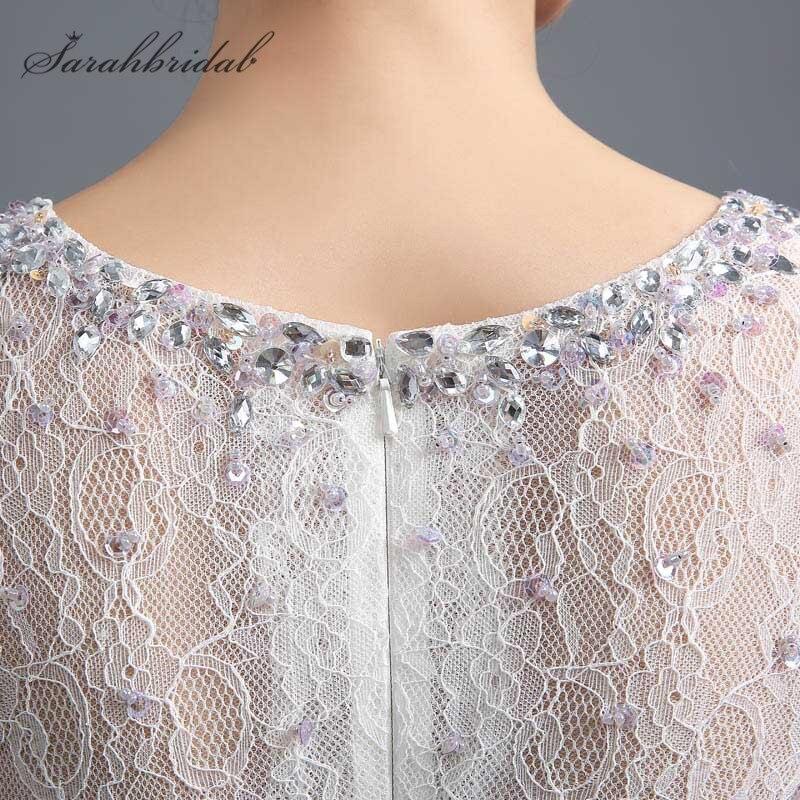 Classique sirène robes de soirée dentelle perles manches courtes transparent dos nu femmes mère de mariée robes offre spéciale en Stock SD291 - 6