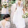 Custom 2017 lace chiffon lace v-neck 7 minutes of sleeve plait skirt waist unbacked wedding dress