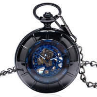 Retro Black Hollow Blue Roman Numbers Design Skeleton Steampunk Mechanical Hand Wind Fob Pocket Watch