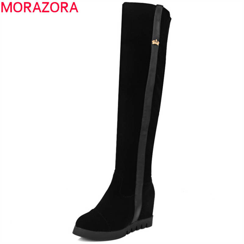 MORAZORA Over the knee boots in autumn winter height increasing women boots female flock zip solid fashion boots big size 34-43 large size 34 41 simple leisure height increasing round toe zip women boots winter genuine leather solid knee high boots