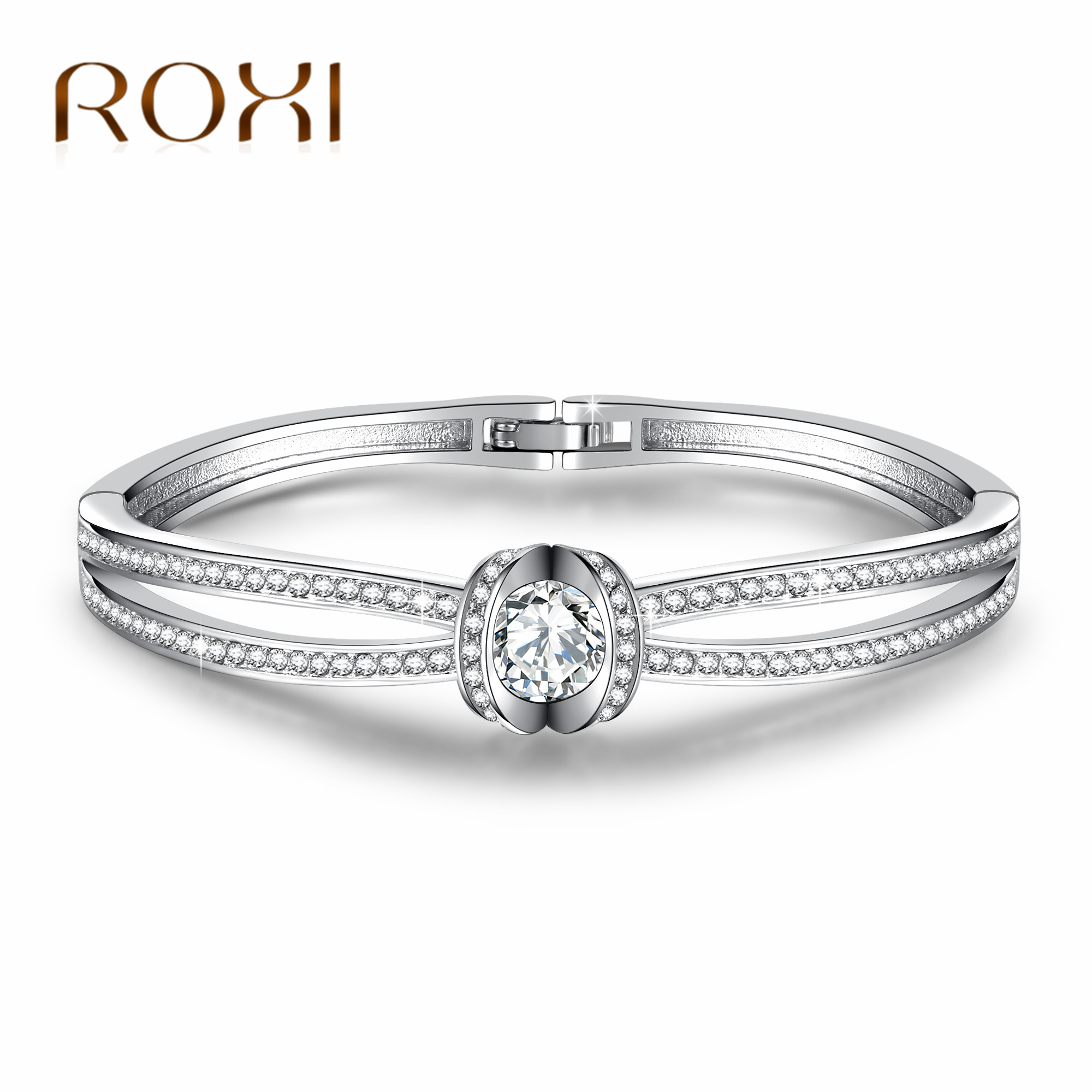 ROXI Top Quality Love Bracelets Bangles for Women Czech CZ Drilling White Gold Plated Cross Bracelet Luxury Jewelry pulseiras