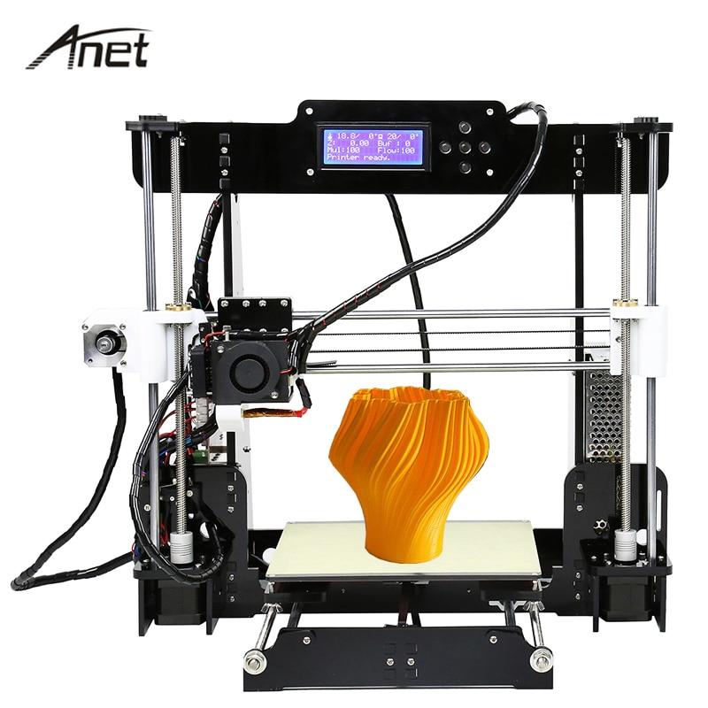 Anet A8 3D Printer DIY Kit Multi-language High Precision Reprap i3 Impresora 3D Printers Gift 10m Filament 8G SD Card Build Tool 2016 3d printer diy kit reprap prusa i3 3d printer lcd menu support multi language with 0 5kg filament 8g card free shipping