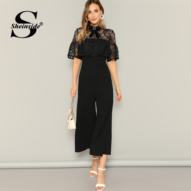 Sheinside Elegant Contrast Lace Wide Leg   Jumpsuit   Women 2019 Bow Detail Skinny   Jumpsuits   Ladies Black High Waist Trim   Jumpsuit
