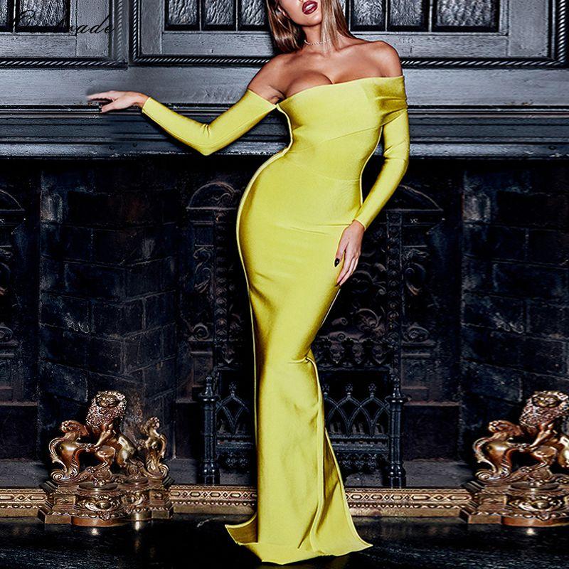 Ocstrade fête de noël 2019 nouveauté Sexy Bandage robe à manches longues jaune drapé épaule longue Maxi Bandage robe