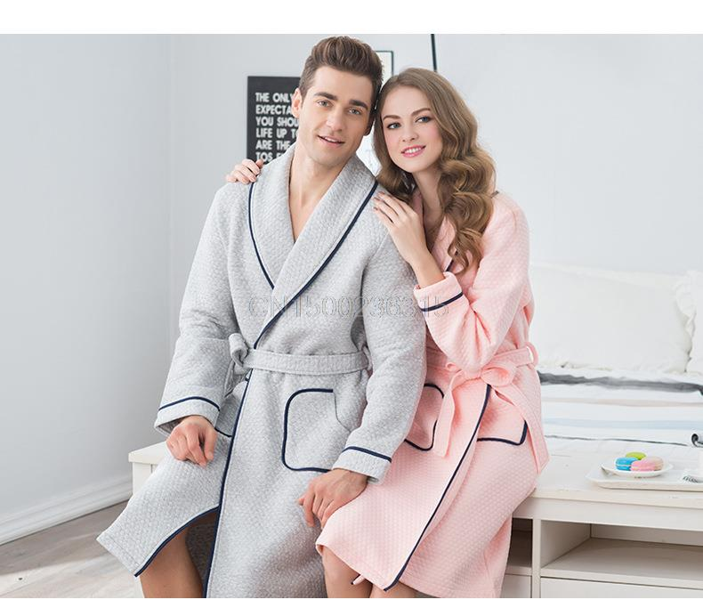Warm air cotton couple pajamas nightgown long sleeved autumn and winter men  and women bathrobe bathrobe cotton-in Robes from Men s Clothing    Accessories cfcb2dd6b