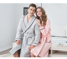Теплый воздух хлопок пара пижамы ночной рубашке с длинными рукавами осенью и зимой мужчин и женщин халат халат хлопок