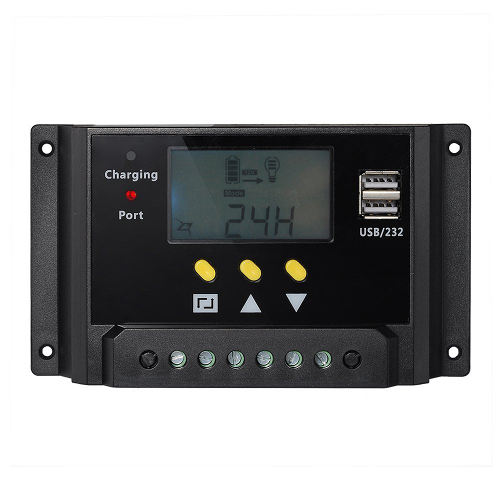 LCD display 30A PWM solar panel regulator charge controller 12V / 24V 360W / 720W with Dual USB For campers / caravans / boat 10a 20a 30a lcd pwm solar panel charge controller battery regulator 12v 24v with dual usb