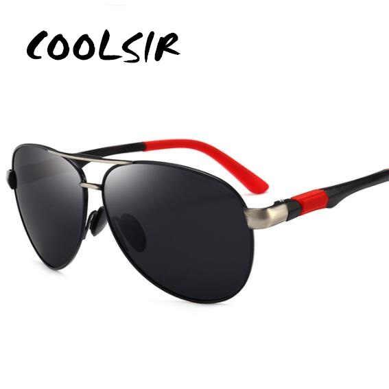 Мужские классические солнцезащитные очки COOLSIR поляризационные в оправе из