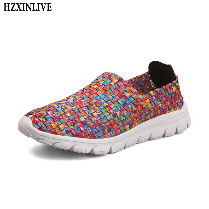 HZXINLIVE 2018 Colorful Flats Shoes Women Non-slip Flat Braided Shoes for Women Ladies Breathable Summer Loafers Zapatos Mujer women shoes summer flat female loafers zapatos mujer women casual flats woven shoes sneakers slip on colorful sneakers mujer ax4
