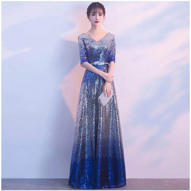 Evening Dress 2019 New Summer Banquet Long Paragraph Sequins Elegant Evening Dinner Dress Host Female Evening Dress