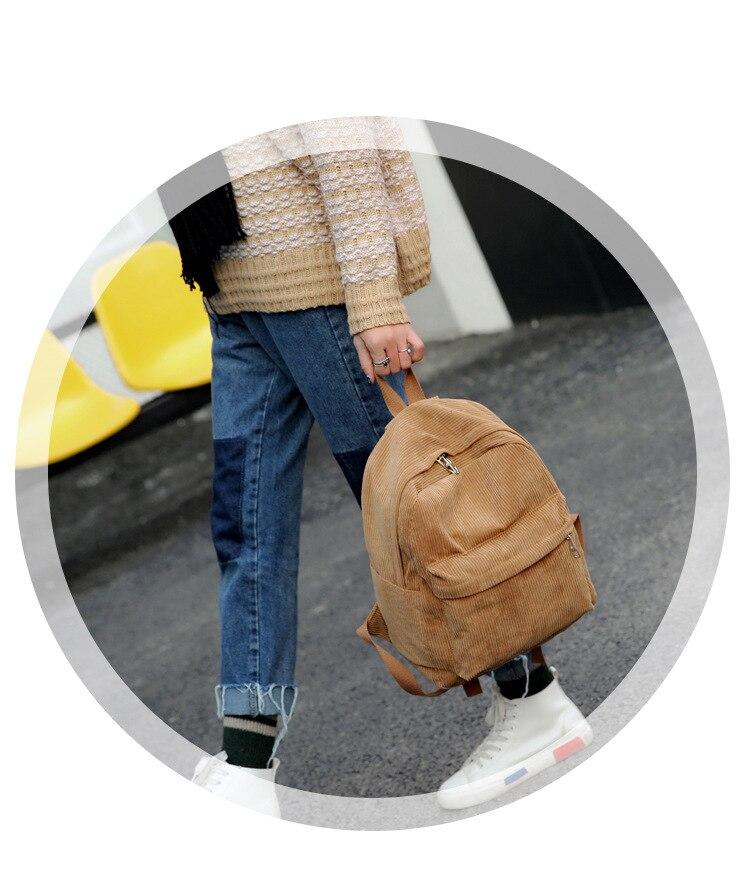 HTB1XPrdd8WD3KVjSZFsq6AqkpXaa 2019 New Corduroy Women Backpack Pure Color Women Travel Bag Fashion Double Backpack Female Mochila Bagpack Pack Design