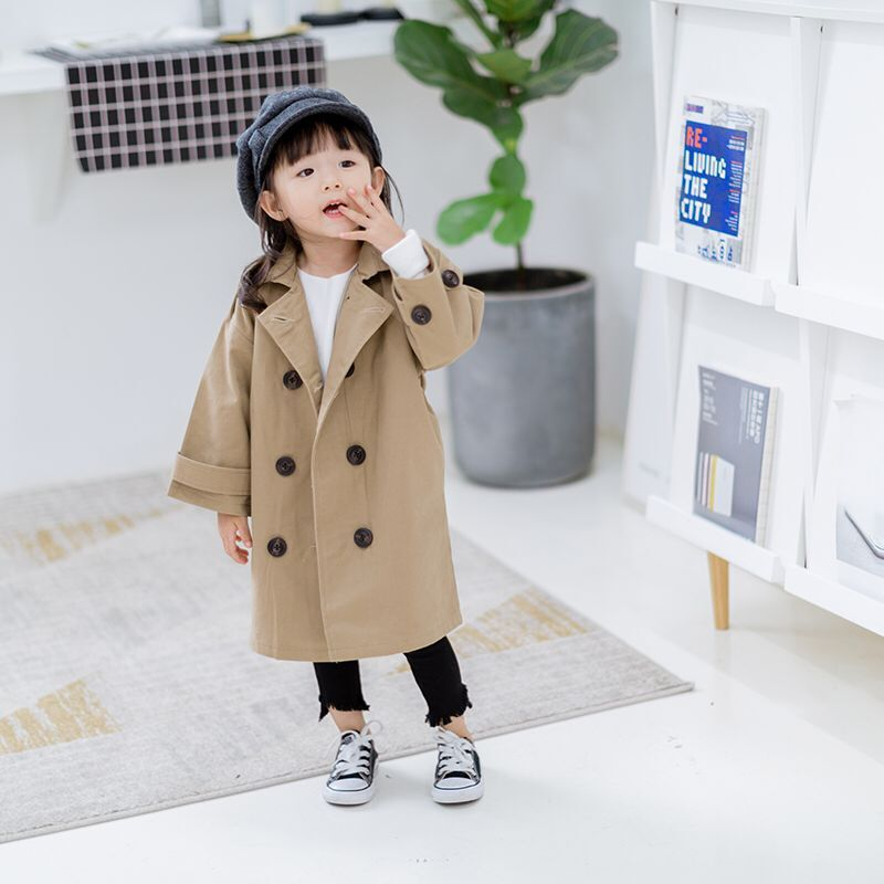 Dollplus 2019 Spring Autumn New Children's Jackets Windbreaker for Girls   Trench   Coat Long Double-breasted Children Clothing