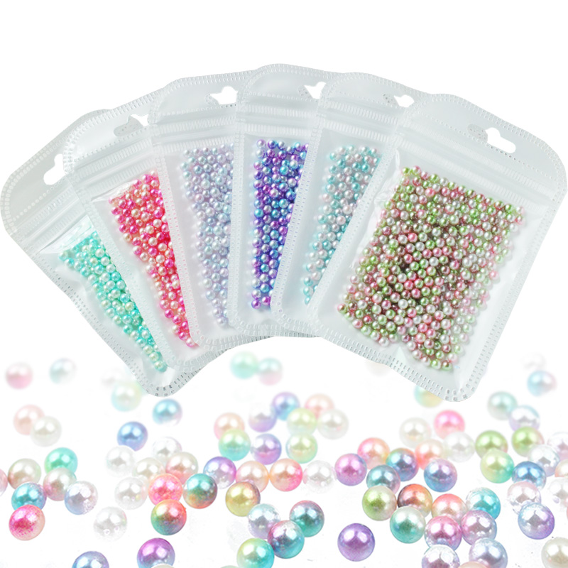 Beautiful Gradient Rainbow Color Mixed Size 3/4/5/6mm Round  ABS Plastic Non Hole Pearl Beads For DIY Decorative Items