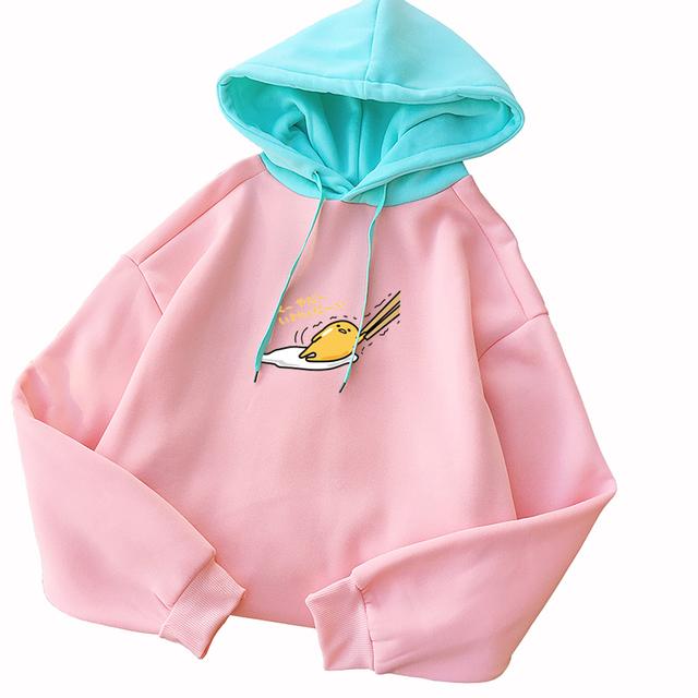 Autumn Hoodies Sweatshirts Women Kawaii Cartoon Gudetama Printed Drop Shoulder Long Sleeve Harajuku Fleece Pullovers Hooded 2018