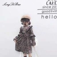 Baby girl thickening plus velvet long sleeved ocean leopard dress 2018 autumn and winter new big children's dress tide