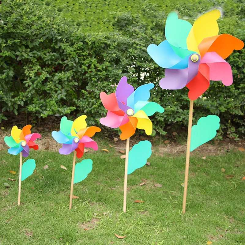 Beautiful High Quality 24cm Wood Garden Yard Party Windmill Wind Spinner Ornament Decoration Kids Toys
