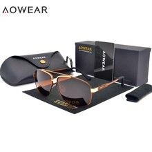 AOWEAR, роскошные брендовые Модные солнцезащитные очки, мужские поляризационные очки, авиационные солнцезащитные очки для мужчин, для вождения, мужские очки с футляром, чехол Oculos