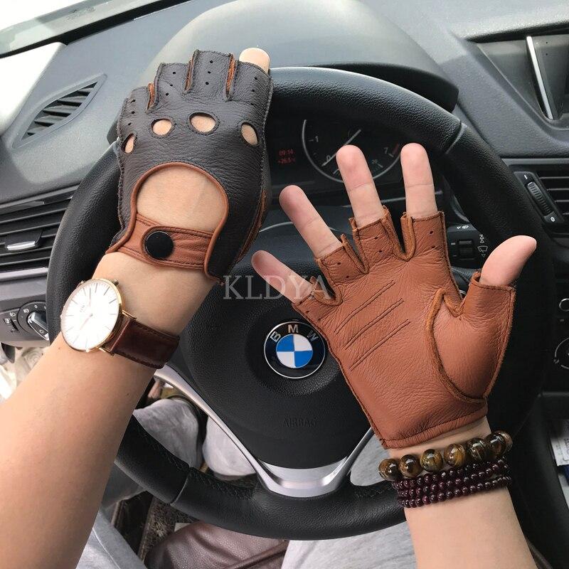 Leather Gloves For Men Fashion Goatskin Fingerless Gloves Half Finger Fitness Non-slip Driving Unlined Fitness Gloves Mittens