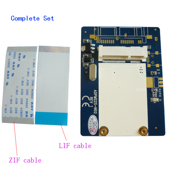 """Free shipping MSATA SSD to 40pin ZIF Adapter Card mini SATA to 1.8"""" CE SSD converter with LIF cable and CE cable"""