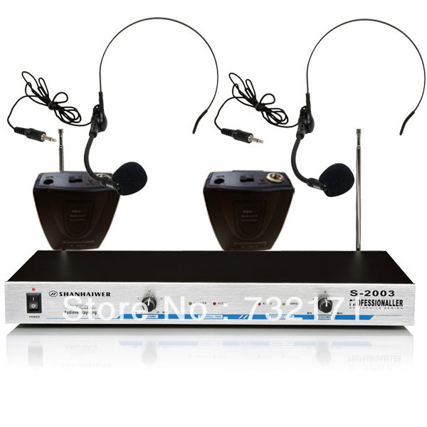VHF Frequency band Double channel Head Wearing microphone Wireless dynamic headset megaphone remote speak condenser mic system