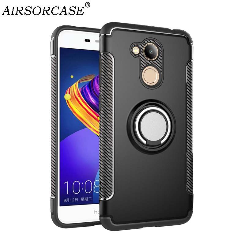 For Huawei Honor V9 Play Case 5.2'' Honor 6C Pro Cover Hard PC & TPU Back Cover Kickstand Finger Ring for Car Magnetic Holder