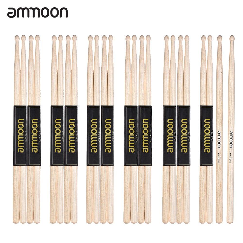 12 pairs set ammoon 7a wooden drumsticks drum sticks fraxinus mandshurica wood drum set. Black Bedroom Furniture Sets. Home Design Ideas