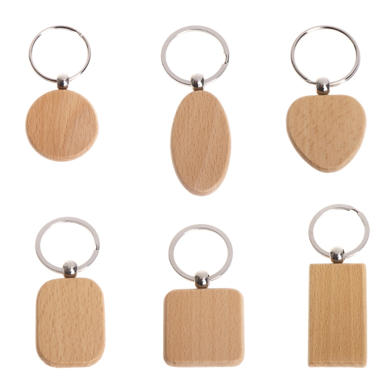 Natural Wood Bamboo Wooden Key Ring Keychain Round Square Heart Shap Anti Lost Wood Accessories Gifts