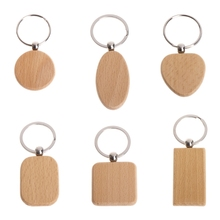 Natural Wood bamboo wooden Key Ring Keychain Round Square Heart Shap Anti Lost Accessories Gifts